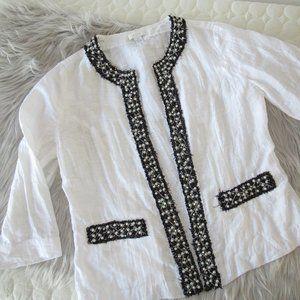 Chico's White Beaded Linen Jacket Size 0/10